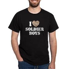 I Love Soldier Boys Black T-Shirt