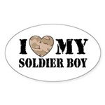 I Love My Soldier Boy Oval Sticker