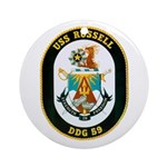 USS Russell DDG-59 Navy Ship Ornament (Round)