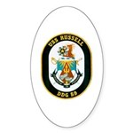 USS Russell DDG-59 Navy Ship Oval Sticker (10 pk)