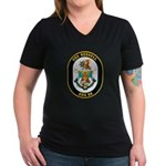 USS Russell DDG-59 Navy Ship Women's V-Neck Dark T