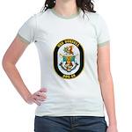 USS Russell DDG-59 Navy Ship Jr. Ringer T-Shirt