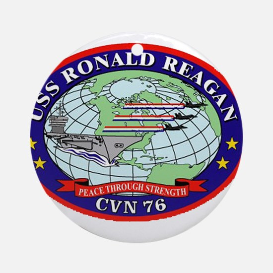 USS Ronald Regan CVN-76 Navy Ship Ornament (Round)