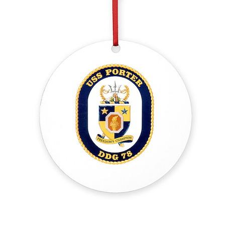 USS Porter DDG-78 Navy Ship Ornament (Round)