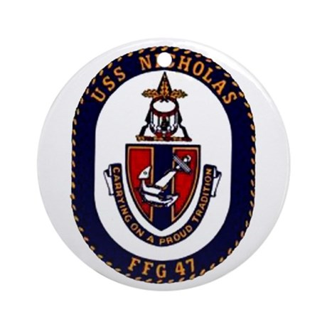 USS Nicholas FFG-47 Navy Ship Ornament (Round)