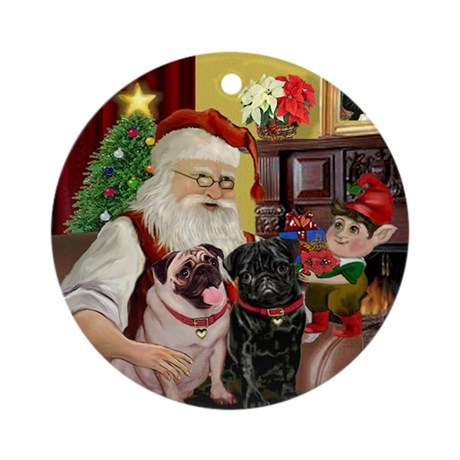 Santa's Two Pugs Ornament (Round)