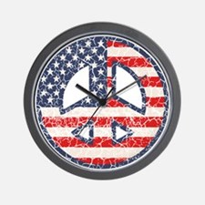 Flag-Peace-dist Wall Clock