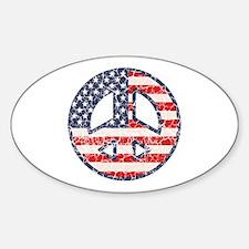 Flag-Peace-dist Oval Decal
