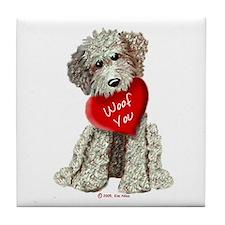 WOOF YOU Doodle Love Tile Coaster