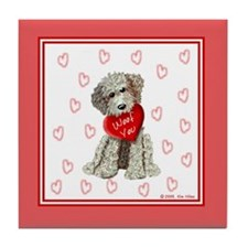 WOOF YOU Doodle Love Hearts Tile Coaster
