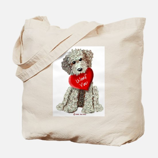 WOOF YOU Doodle Love Tote Bag