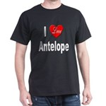 I Love Antelope (Front) Black T-Shirt
