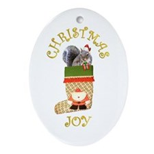 Christmas Squirrel Oval Ornament