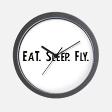 Eat, Sleep, Fly Wall Clock