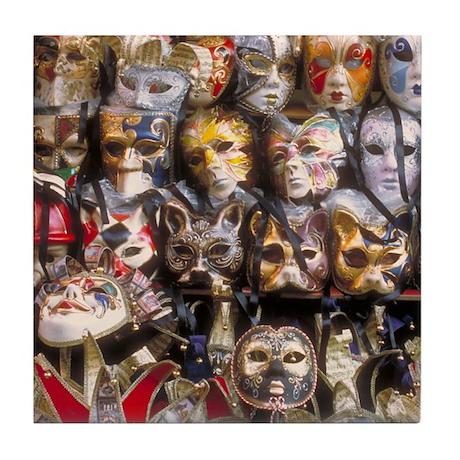 Italy Tile Coaster: <br> Venetian masks