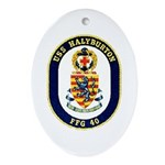 USS Halyburton FFG-40 Navy Ship Oval Ornament