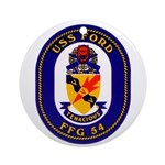 USS Ford FFG-54 Navy Ship Ornament (Round)