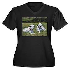 Dalmations Women's Plus Size V-Neck Dark T-Shirt