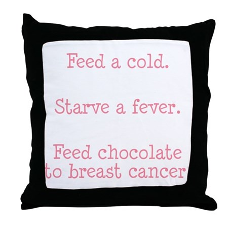 Feed Chocolate to Breast Cancer Throw Pillow