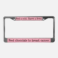 Feed Chocolate to Breast Cancer License Plate Fram