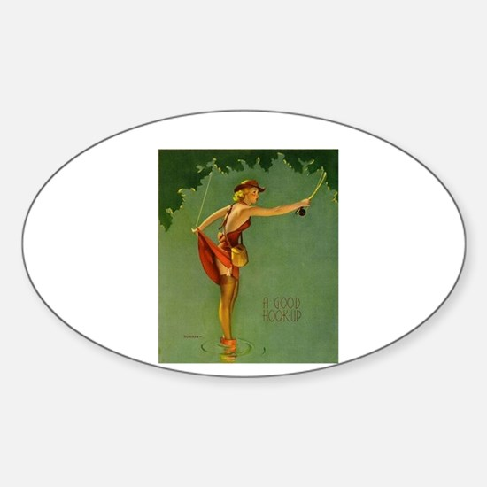 Vintage Fly Fishing Sticker (Oval)