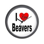 I Love Beavers Wall Clock
