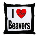 I Love Beavers Throw Pillow