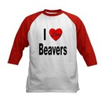 I Love Beavers (Front) Kids Baseball Jersey