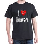 I Love Beavers (Front) Black T-Shirt
