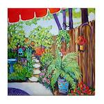 Patio with Red Umbrella Tile Coaster