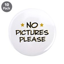 """No pictures please - Photo 3.5"""" Button (10 pack)"""