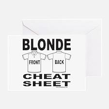 BLONDE CHEAT SHEET Greeting Card