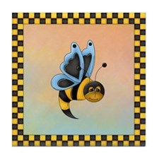 Butterbee With Blue Wings Tile Coaster