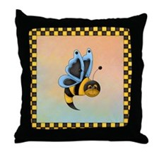 Butterbee With Blue Wings Throw Pillow