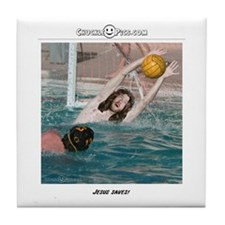 Jesus Saves-Water Polo Tile Coaster
