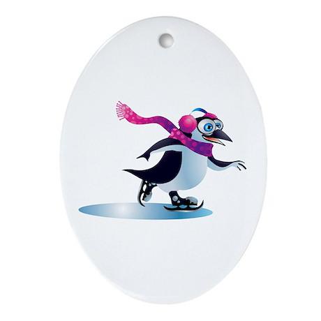 Penguin Ice Skating! Oval Ornament