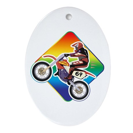 Dirtbike Rider Oval Ornament