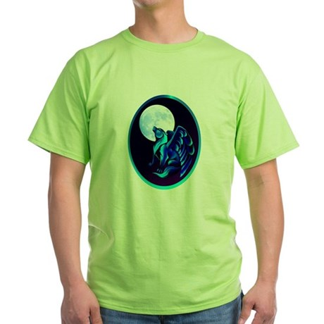 Fantasy Wolf framed Green T-Shirt