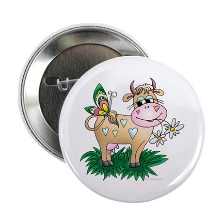 """Cow & Butterfly 2.25"""" Button"""