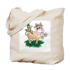 Cow & Butterfly Tote Bag