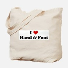 I Love Hand & Foot Tote Bag