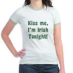 Kiss Me, I'm Irish Tonight! Jr. Ringer T-Shirt