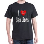 I Love Sea Lions (Front) Black T-Shirt
