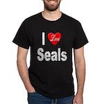 I Love Seals (Front) Black T-Shirt