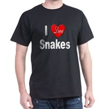 I Love Snakes (Front) Black T-Shirt