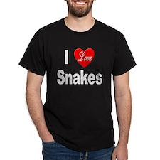 I Love Snakes (Front) Black T-Shirt