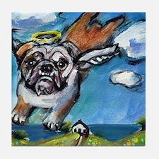English Bulldog angel flys fr Tile Coaster