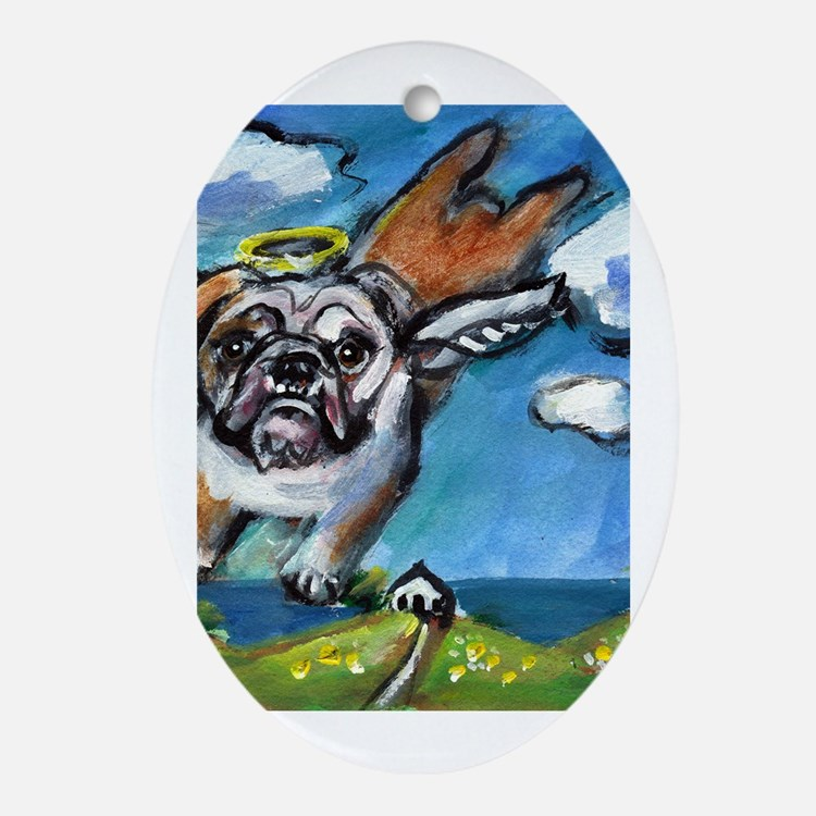 English Bulldog angel flys fr Oval Ornament