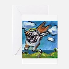 English Bulldog angel flys fr Greeting Cards (Pk o