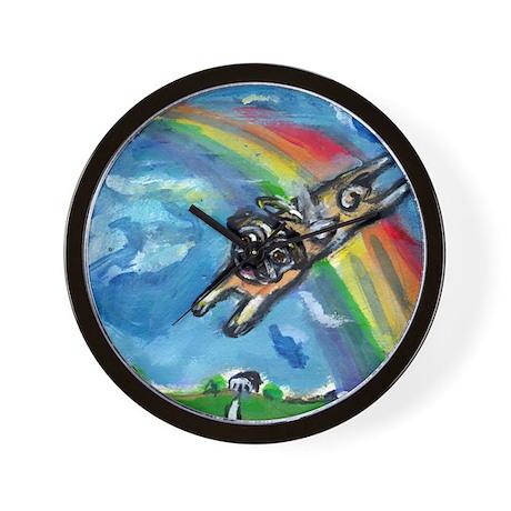 Pug angel flys free Wall Clock